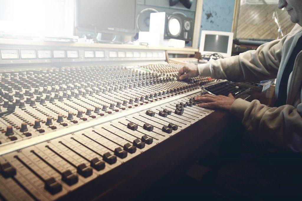 sound studio, recording, faders
